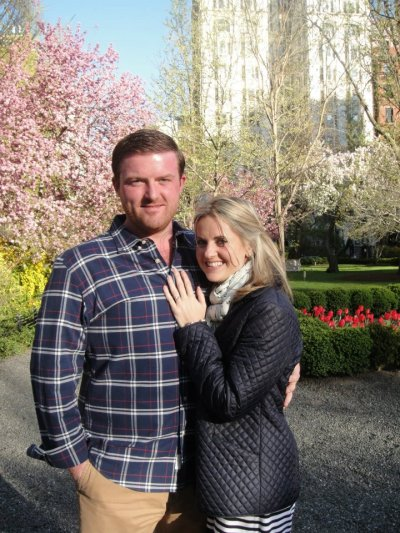 The day they got engaged in NYC's Gramercy Park...you have to get a KEY to get in there!